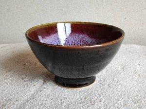 三池焼窯元・赤と黒のご飯茶碗大(辰砂天目釉飯碗大)【還暦や退職などのプレゼントに最適の九州熊本の手作り陶器です】