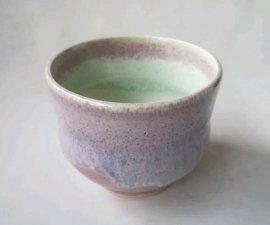 三池焼窯元のピンクの湯のみ(均窯いっぷく茶碗)【プレゼントに最適の九州熊本の手作り陶器です】