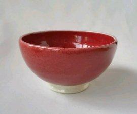 三池焼窯元◆赤いご飯茶碗大(辰砂飯碗大【下白】)【還暦や退職などのプレゼントに最適の九州熊本の手作り陶器です】