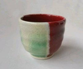 送料無料 三池焼窯元 赤い窯変ぐいのみ(辰砂窯変ぐいのみ)【還暦や退職などのプレゼントに最適の九州熊本の手作り陶器です】