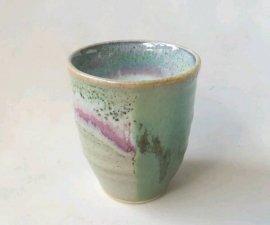 三池焼窯元 緑の窯変カップ小(緑釉窯変カップ小)【還暦や退職などのプレゼントに最適の九州熊本の手作り陶器です】