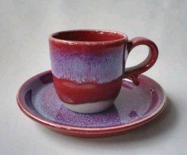 三池焼 赤いコーヒーカップ&ソーサー(辰砂コーヒーカップ&ソーサー)【還暦祝いなどの贈り物に最適の手作り陶器】