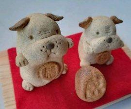 三池焼窯元◆陶器どうぶつ置物『2018年干支【戌(いぬ)】可愛いイヌの親子』【手作り陶器】