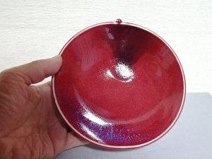 三池焼窯元・赤いりんご形鉢16.3cm(辰砂りんご形鉢16.3cm)【還暦祝いや退職祝いなどのプレゼントに最適の手作り陶器】