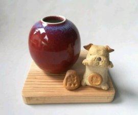 三池焼窯元・赤い花入れ&犬(辰砂花入れ&犬)【還暦や退職などのプレゼントに最適の九州熊本の手作り陶器です】