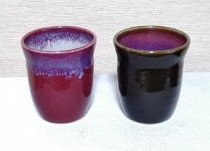 還暦祝 赤(辰砂釉)と黒(天目釉)フリーカップセット 送料無料