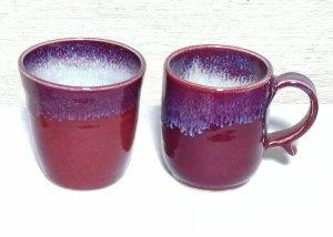 還暦祝 赤いフリーカップと筒形マグカップセット 送料無料