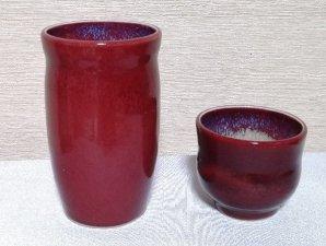 還暦祝 赤いフリーカップとぐい吞セット 送料無料