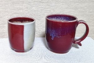 還暦祝 辰砂釉窯変湯のみと筒形マグカップセット 送料無料