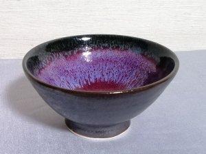 三池焼窯元 赤と黒の平飯碗小(辰砂黒鉄釉飯碗小)【還暦祝いや退職祝いなどのプレゼントに最適の九州熊本の手作り陶器です】