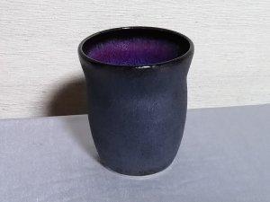 三池焼窯元 赤と黒の焼酎カップ250�(辰砂黒鉄釉焼酎カップ250�)【還暦祝いや退職祝いなどのプレゼントに最適の九州熊本の手作り陶器です】