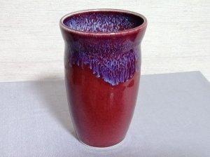 三池焼窯元 赤いビールカップ180�(辰砂流れ釉ビールカップ180�)【還暦祝いや退職祝いなどのプレゼントに最適の九州熊本の手作り陶器です】
