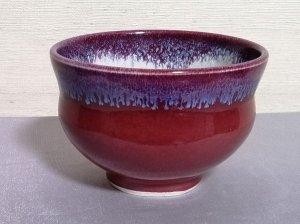 三池焼窯元の赤い汁碗大(辰砂釉汁碗大)【還暦や退職などのプレゼントに最適の九州熊本の手作り陶器です】