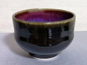 三池焼窯元の赤と黒の汁碗大(辰砂天目釉汁碗大)【還暦や退職などのプレゼントに最適の九州熊本の手作り陶器です】