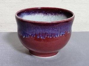 三池焼窯元の赤い汁碗小(辰砂釉汁碗小)【還暦や退職などのプレゼントに最適の九州熊本の手作り陶器です】