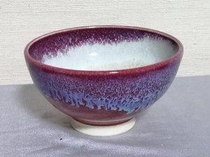 三池焼窯元の赤いご飯茶碗大(辰砂流し釉飯碗中白大)【還暦や退職などのプレゼントに最適の九州熊本の手作り陶器です】