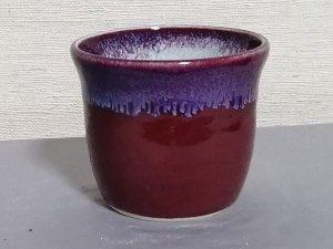 三池焼窯元の中が白くて外が赤いそばチョコ(辰砂流し釉そばチョコ中白)【還暦や退職などのプレゼントに最適の九州熊本の手作り陶器です】