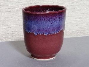 三池焼窯元・流し模様の入った赤い湯のみ大(辰砂流し釉湯のみ大)【プレゼントに最適の九州熊本の手作り陶器です】