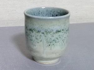 三池焼窯元・緑の筒型湯のみ小(銅緑釉筒型湯のみ小)【プレゼントに最適の九州熊本の手作り陶器です】