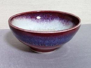 三池焼窯元の赤い鉢中白14�(辰砂流し釉鉢中白14cm)【還暦や退職などのプレゼントに最適の九州熊本の手作り陶器です】