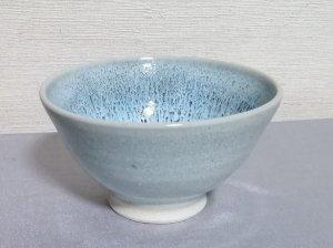 三池焼窯元◆青白い流れ模様の飯碗大(青白釉飯碗大)【誕生日や退職などの贈り物に最適な九州熊本の手作り陶器】