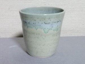 三池焼窯元 緑色の焼酎カップ中白220�(銅緑釉焼酎カップ中白220�)【還暦祝いや退職祝いなどのプレゼントに最適の九州熊本の手作り陶器です】