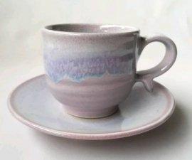 三池焼窯元◆ピンク(薄紫)のコーヒーカップ『均窯(鈞窯)コーヒーカップ&ソーサー』【手作り陶器です】