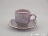 三池焼窯元◆ピンク色のコーヒーカップ『均窯(鈞窯)コーヒーカップ&ソーサー』【手作り陶器】
