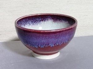 三池焼窯元の赤いご飯茶碗小(辰砂飯碗中白小)【還暦や退職などのプレゼントに最適の九州熊本の手作り陶器です】