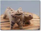 三池焼窯元◆陶器どうぶつ置物『笑う親子ねこ♪』【手作り陶器】