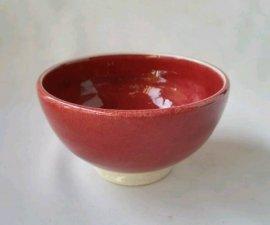 三池焼窯元◆赤いご飯茶碗小(辰砂飯碗小【下白】)【還暦や退職などのプレゼントに最適の九州熊本の手作り陶器です】