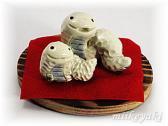 三池焼窯元◆陶器どうぶつ置物『2013年干支【巳】可愛いヘビの親子』【手作り陶器】