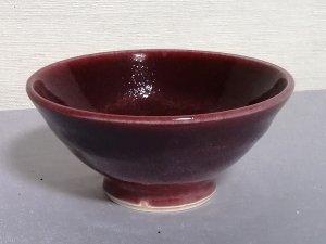 三池焼窯元◆赤いご飯茶碗(辰砂線文)【還暦や退職などのプレゼントに最適の九州熊本の手作り陶器です】
