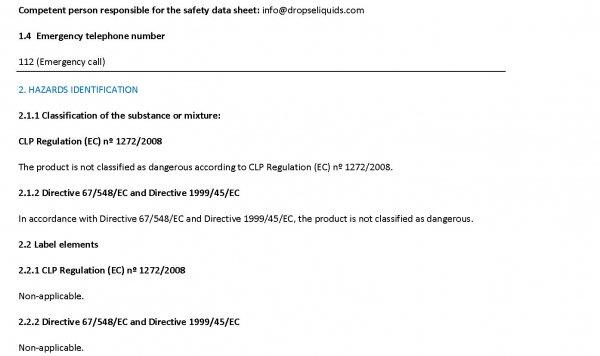 SDS:安全データシート Drop