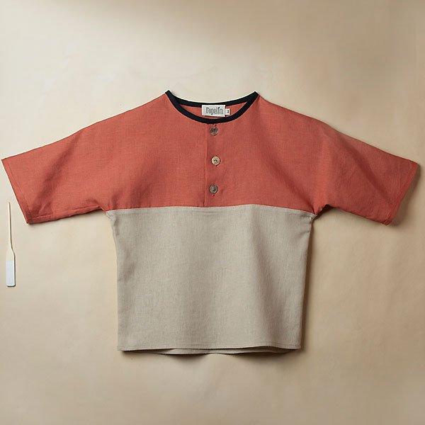 <img class='new_mark_img1' src='https://img.shop-pro.jp/img/new/icons8.gif' style='border:none;display:inline;margin:0px;padding:0px;width:auto;' />Popelin ポペリン Terracotta yolk-style shirt 七分袖ラグランTシャツ