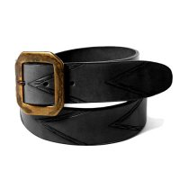 CALEE - EMBOSSING LEATHER BUCKLE BELT