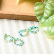 【マーブル パーツ チャーム】メガネ つなぎパーツ 2つ穴 約9x27.5mm 緑白茶 2個 アクセサリーパーツ マーブル柄 眼鏡 EDGY&SPYCY