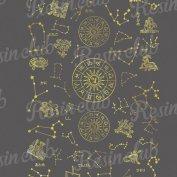 Resin club(レジンクラブ)【レジン 封入 シール】埋め込みレジンシール 12星座 ゴールド 1枚 金 星 星図 ホロスコープ 夜空 ホシ シンボル イラスト ステッカー