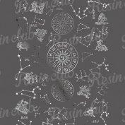 Resin club(レジンクラブ)【レジン 封入 シール】埋め込みレジンシール 12星座 シルバー 1枚 銀 星 星図 ホロスコープ 夜空 ホシ シンボル イラスト ステッカー