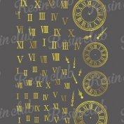 Resin club(レジンクラブ)【レジン 封入 シール】埋め込みレジンシール ローマ数字&時計 ゴールド 1枚 金 短針 長針 針 盤面 とけい アンティーク ステッカー