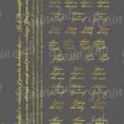 Resin club(レジンクラブ)【レジン 封入 シール】埋め込みレジンシール アルファベットメッセージ ゴールド 1枚 金 文字 英字 英語 筆記体 スクリプト ステッカー