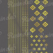 Resin club(レジンクラブ)【レジン 封入 シール】埋め込みレジンシール ネイティブライン ゴールド 1枚 ボヘミアン 民族 デザイン 柄 ラインテープ ステッカー