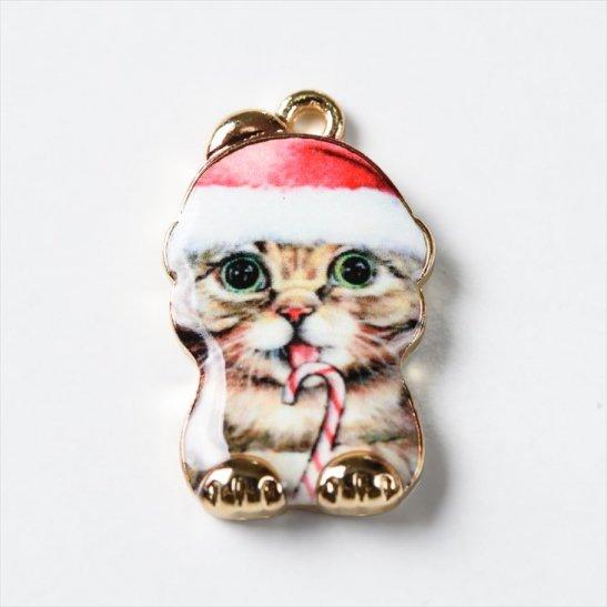 紗や工房 チャーム イラスト クリスマス猫 金 約23mmx14mm 1個