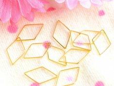【フレームパーツ/ダイヤ(約10x23mm)約10個】ゴールド/フープ/リング/メタルパーツ/ハンドメイド資材/手芸材料/レジン/デコ素材/部品