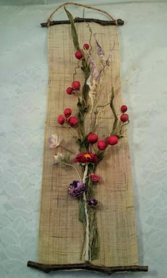 布花タペストリー(サンキライ、枝豆、etc)