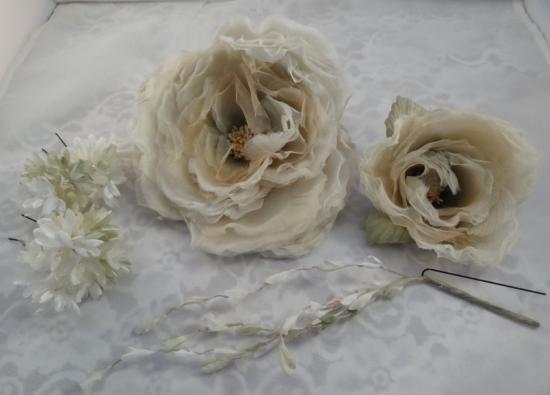 布花 髪飾り5点セット(ホワイト)
