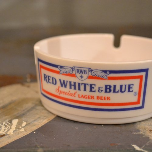 Red White & Blue Beer Ashtray Deadstock