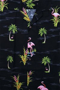 PACIFIC LEGEND S/S ALOHA SHIRTS FLAMINGO 2【BLK】