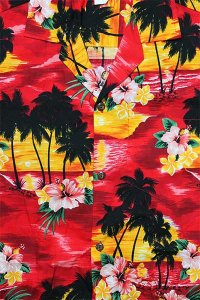 PACIFIC LEGEND S/S ALOHA SHIRTS SUNSET【RED/YEL】
