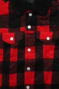 <img class='new_mark_img1' src='//img.shop-pro.jp/img/new/icons16.gif' style='border:none;display:inline;margin:0px;padding:0px;width:auto;' />mnml FLANNEL SHERPA JACKET【RED/BLK】